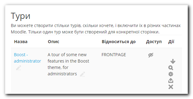 Сторінка перегляду списку турів